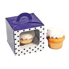 Purple Polka Dot Cupcake Boxes With Handle - Solid Color Party Supplies & Solid Color Favor: Purple Polka Dot Cupcake Boxes With Handle. Includes a paper insert to keep cupcake secure. 4 x 4 x 4 Simple assembly required. Dessert Boxes, Cupcake Boxes, Cupcake Party, Dessert Table, Polka Dot Cupcakes, Cute Cupcakes, Cupcake Carrier, Decorating Tools, Oriental Trading