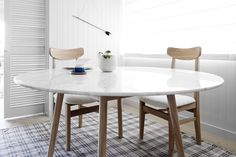 """""""We set out to create a mood and influence an entire dining room...I believe we have achieved that."""" Our round Marble Dining Table is supported by a beautiful and strong solid timber frame that is soft on the eye yet present within your home.   Harpers Project Round Marble Dining Table available in two sizes online now at www.harpersproject.com  Scandinavian Style, Scandinavian Furniture, Home inspiration, Marble Furniture, Marble Dining Table, Kitchen inspiration, home decor, home…"""