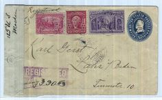 USA, 6 C. Columbus amongst other things on registered cover to Germany with German. Censorship  Dealer Schulz Alexander Auktionshaus  Auction Minimum Bid: 100.00 EUR