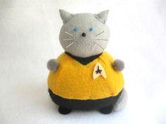 Star Trek Captain Kirk Cat Pincushion cute felt by FatCatCrafts, $17.00