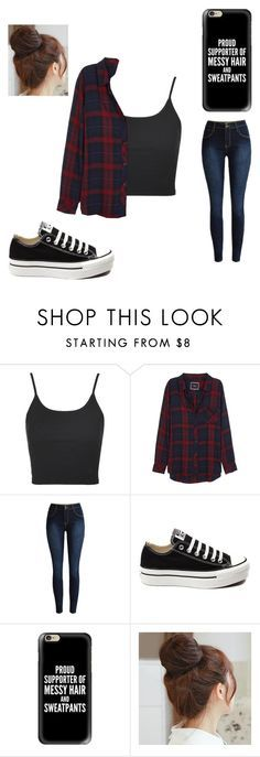 """Me everyday"" by noelleandemma ❤ liked on Polyvore featuring Topshop, Rails, Converse, Casetify and Pin Show"