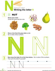 Try this nutty worksheet that gives your preschooler great fine motor practice as she learns all about the letter N. Preschool Letter Crafts, Letter Worksheets For Preschool, Alphabet Tracing Worksheets, Preschool Writing, Writing Worksheets, Letter A Crafts, Alphabet Crafts, Alphabet Activities, Alphabet Letters