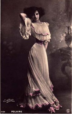 POLAIRE (Emilie-Marie Bouchard) 1874-1939: French singer/actress and famous tightlacer who claimed a waist measurement of 14 inches.
