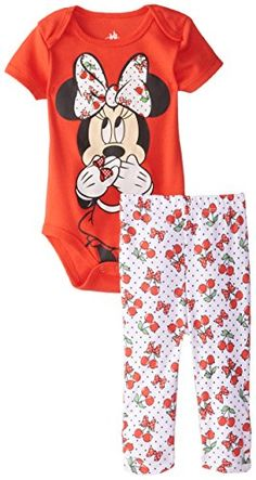Disney Baby Baby-Girls Newborn Minnie Mouse Bodysuit and Pant Set