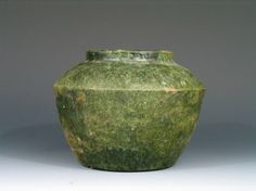 Antique Chinese Green Glaze Pottery Jar, Tang Dynasty China , Ht: 4 3/4 inches.