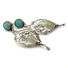 Wire wrap earring  long dangle earring  by MadeBySunflower on Etsy, $170.00