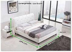 Amazon.de: Designer Bett BAROCK MODERN 140x200 cm #78 Doppelbett (140x200 cm, Weiß)