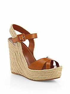 Valentino - Leather Crisscross Espadrille Wedge Sandals