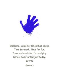 First day of school hand print poem!