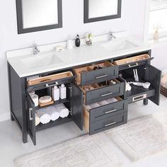 Bathroom tips, master bathroom renovation, master bathroom decor and master bathroom organization! Master Bathrooms can be beautiful too! From claw-foot tubs to shiny fixtures, these are the master bathroom that inspire me the essential. Bad Inspiration, Bathroom Inspiration, Gray Vanity, Vintage Vanity, Bathroom Storage, Bathroom Organization, Bathroom Vanity Storage, Bathroom Vanity Designs, Bathroom Ideas