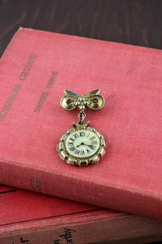 Vintage Faux Clock Brooch  Retro Dangling Pocket by LoAndCoVintage