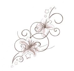 Lily Tattoo Design - minus the stars and flip the bottom filigree to accommodate the girls names