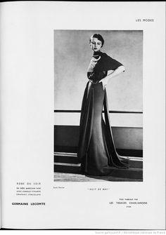 """Modes (Paris) 1935  """"Nuit de Mai"""" Robe du Soir. Germaine Lecomte."""