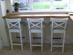 Ikea White Bar Stools With Backrest -ingolf X 3 New