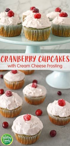 Enjoy a new spin on cupcakes with this healthier cranberry cupcake recipe! It's made with canned cranberry sauce and topped with a cranberry cream cheese frosting for a sweet, but not too sweet, dessert. Healthy Dessert Recipes, Sweet Desserts, Cupcake Recipes, Easy Desserts, Delicious Desserts, Healthy Cream Cheese Frosting, Cream Cheese Desserts, Cupcakes With Cream Cheese Frosting, Cranberry Cheese