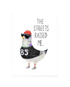 Street Pigeon A3 Print  Designed by Jolly Awesome