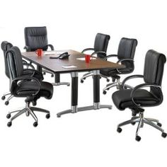 Complete OFM Conference Room Set - conference table and leather chairs