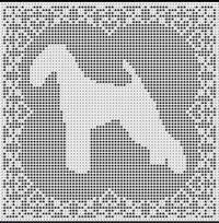 Cross Stitch Patterns - Dogs - Airedale Terrier FILET CROCHET PATTERN