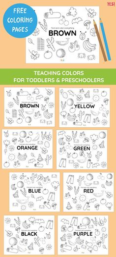 Free Learning about Colors Printables for Preschoolers and Toddlers Preschool Color Activities, Preschool Art Projects, Free Preschool, Kindergarten Lesson Plans, Preschool Lessons, Preschool Learning, Learning Games For Kids, Educational Games For Kids, Colors For Toddlers