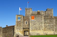 """Palace Gate, Inner Curtain Wall, Dover Castle, Kent, England, UK. The Gate (with portcullis and drawbridge) opens into the Keep Yard opposite the Keep's Flag Tower; entry to the Keep itself is below the non-flag tower: this creates a killing zone within the Inner Bailey. Gateway also termed """"Duke of Suffolk's Tower"""". Listed Building, English Heritage site, and Scheduled Ancient Monument. Norman and Medieval History, Travel, Tourism, and Vacation. See: http://www.panoramio.com/photo/86979078"""