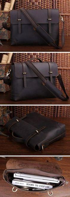 """Vintage Leather Briefcase / Messenger / 13"""" 14"""" Laptop 13"""" 15"""" MacBook Bag"""