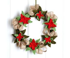 poinsettia crochet christmas wreath free pattern