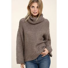 Heart-to-Heart Dark Taupe Crop Sweater ($64) ❤ liked on Polyvore featuring tops, sweaters, grey, cropped sweater, gray sweaters, gray turtleneck sweater, turtleneck crop tops and grey sweater