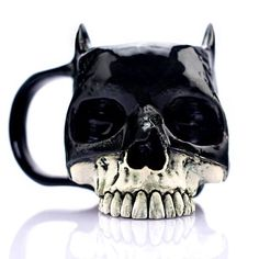 Batman Skull Mug Skull Coffee Mug Gothic Home Decor Cosplay Prop Batman Cosplay Gothic Skull Mug Halloween Gift Men Gift Son Gift - Be Batman - Ideas of Be Batman - Batman Cosplay, Mascaras Halloween, Goth Home Decor, Gypsy Decor, Horror Decor, Skull Illustration, Gothic House, Pottery Mugs, Halloween Gifts