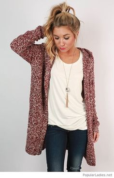 Jeans, white tank and a cozy cardigan