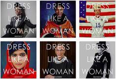 #DressLikeAWoman feminist campaign: Janelle Monáe, Mae Carol Jemison, Megan Rapinoe, Malala Yousafzai, Ruth Bader Ginsburg and Rihanna