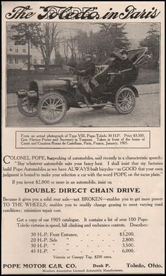 Paper Gallery Collectibles - Original 1905 Pope Toledo Automobile Motor Car Company Advertisement, $14.50 (http://www.papergalleryprints.mybigcommerce.com/original-1905-pope-toledo-automobile-motor-car-company-advertisement/)