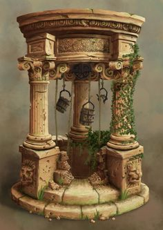 Concept art for my pillar design. Could add similar buildings to this on my ancient greece level.