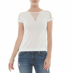 BOBSTORE T-shirt recortes tule off white