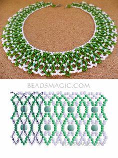 Free pattern for beaded necklace First Snowdrop 11/0-6/0 kása, vagy 4 mm cseh csiszolt