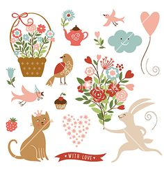 Holiday spring elements collection vector by Lenlis on VectorStock®