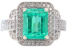 14K WHITE GOLD GREEN EMERALD AND ROUND CUT DIAMONDS RING ART DECO ANTIQUE 4.85CT