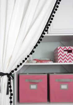 DIY Pom Pom Trim on IKEA Curtains. Smart to add detail to already made curtains