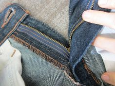 Resewing a new zipper into jeans ~ a job I can procrastinate on so long that they no longer fit!
