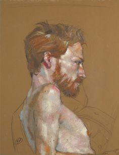 Red Beard - pastel Gras sur Papier - 50 x 65 cm