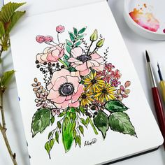 Ink line and wash by @WaldfrauArt Floral Bouquets, Nature Illustrations, Ink, Tableware, Flower Bouquets, Dinnerware, Tablewares, India Ink, Dishes