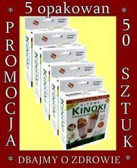 12ab)PLASTRY DETOX KINOKI PAKIET 5 op. 50 szt kuracja 25 dni dla 1 osoby.