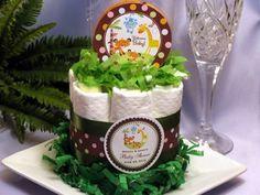 Fisher-Price RAINFOREST mini diaper cake centerpiece - baby shower fav