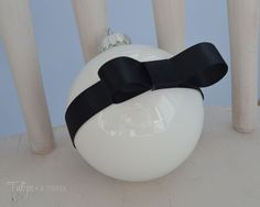 DIY Ornaments : black ribbon bow - Tulips & A Terrier.painted inside of clear ornament and hot glued the ribbon in place Unique Christmas Stockings, Christmas Stocking Hangers, Diy Stockings, Christmas Tablescapes, Christmas Tree Themes, Christmas Ideas, Christmas Things, Masquerade Decorations, Xmas Decorations