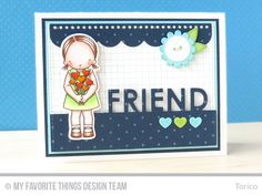 Friend handmade card from Torico featuring Pure Innocence Heart Bouquet stamp set and Die-namics.