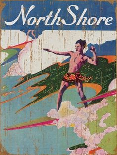 North Shore Vintage Wooden Art, Surf North Shore Hawaii