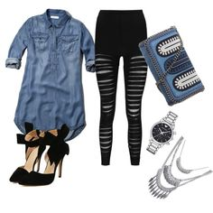 A fashion look from May 2015 featuring Abercrombie & Fitch dresses, Boohoo leggings and STELLA McCARTNEY clutches. Browse and shop related looks.