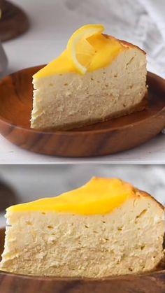 Low Carb Desserts, Low Carb Recipes, Dessert Recipes, Sugar Free Desserts, Lemon Desserts, Amazing Food Videos, Lemon Cheesecake Recipes, Sugar Free Cheesecake, Vegan Cheesecake