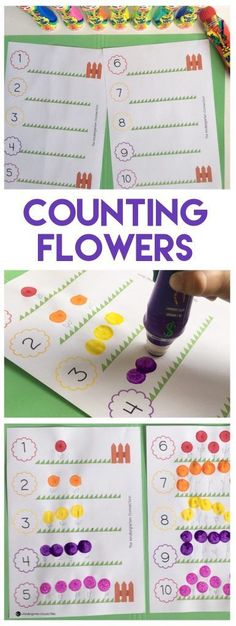 Grab this FREE Flower Counting Activity Printable for practicing one-to-one corrrespondence in preschool and Kindergarten! #countingon #kindergarten #freeprintable #math #thekindergartenconnection