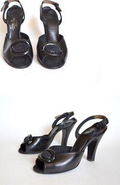 1940s Shoes / Black Peeptoe Shoes / 1940s Shoes /  40s Pump /