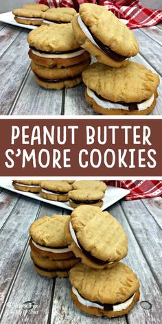 Peanut Butter S'mores Sandwich Cookies recipe with marshmallows and chocolate.